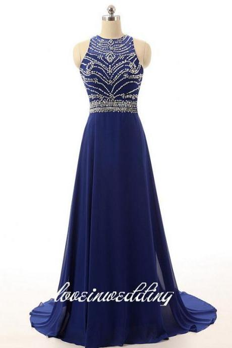Real Photos Prom Dresses,Beaded Prom Dresses,Royal Blue A-Line Prom Dress,Chiffon Formal Dress 2017