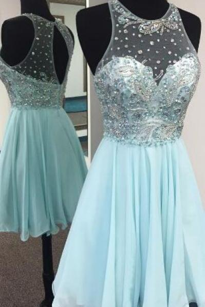 Short Homecoming Dresses,Beaded Sheer Homecoming Dresses,Sexy Girls Party Pageant Dress 2017