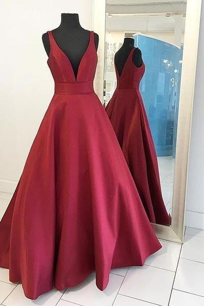 Sexy Burgendy V-neck Sleeveless Long Prom Dress A-line Satin Prom Dress Custom Made Evening/Party Gowns 2017