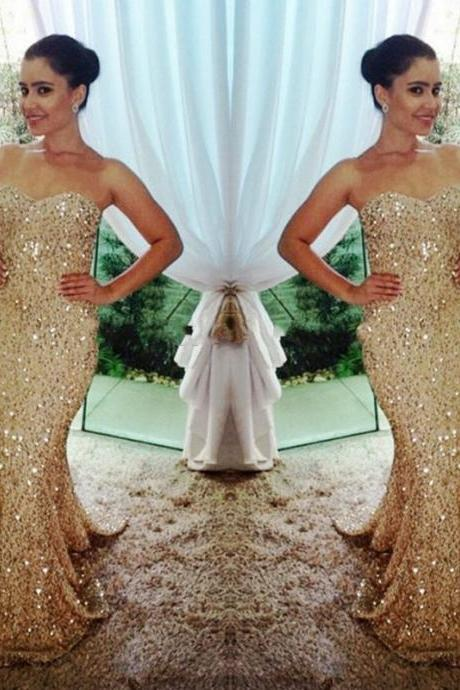 2017 Gold Mermaid Prom Dress,Beautiful Sweetheart Sequins Prom Dress,Custom Made Evening/Party Gowns