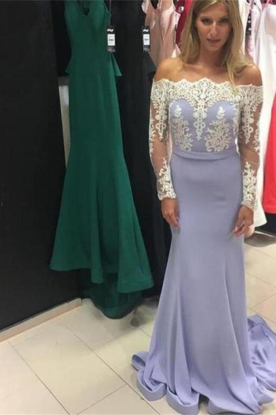 Lavender Prom Dresses,Mermaid Prom Dresses 2017,Long Sleeve Prom Dress,Evening Gowns