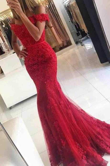 Red Mermaid Prom Dress,Off The Shoulder Prom Dress Beading And Appliques Prom Dress Custom Made 2017