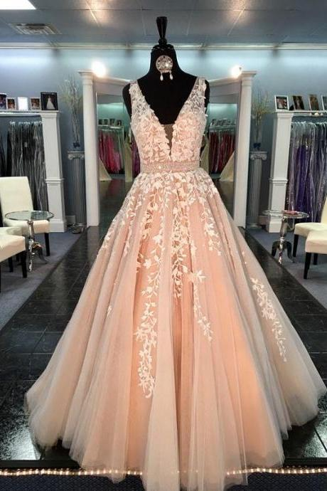 Champagne Prom Dresses,Lace Prom Dresses,Appliqued Tulle Formal Evening Gowns.Custom Made