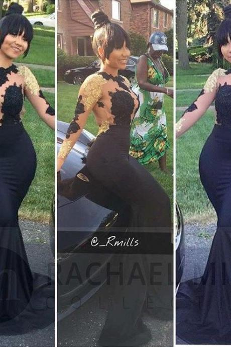 African Prom Dresses,Black Prom Dresses,Mermaid Prom Dresses 2017,Long Sleeves Evening Gowns