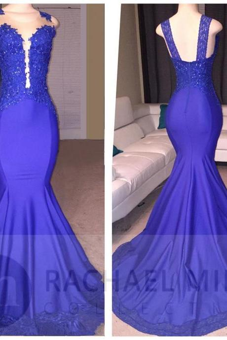Royal Blue Prom Dresses,Mermaid Prom Dresses 2017,Satin Evening Gowns,Formal Celebrity Dress