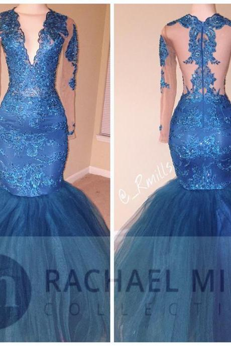 Long Sleeves Prom Dresses,Mermaid Prom Dresses 2017,V Neck Evening Gowns,Formal Dress For Women