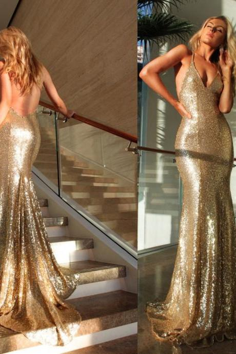 Sexy Deep V-neck Backless Prom Dress Gold Mermaid Prom Dress Custom Made Evening Gowns 2017