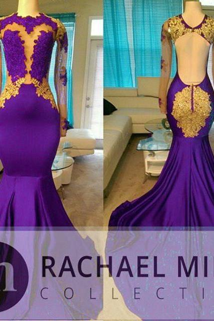 Purple Prom Dresses,Mermaid Prom Dresses,Long Sleeve Prom Dress,Backless Evening Gowns 2017
