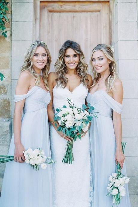 Sky Blue Bridesmaid Dresses,Off The Shoulder Wedding Guest Dress,A Line Chiffon Maid Of Honor Dress