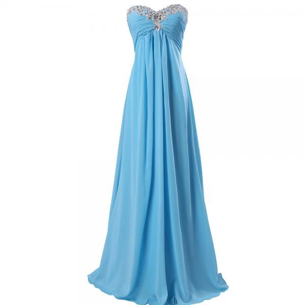Sky Blue Prom Dresses,Sweetheart Prom Dresses,Beaded Prom Dressses 2017,Formal Evening Gowns