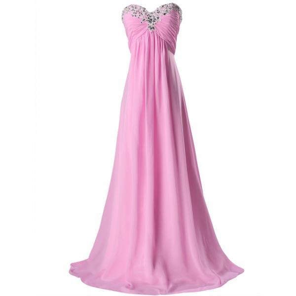 Pink Strapless Sweetheart Ruched Beaded A-line Chiffon Long Prom Dress, Evening Dress Featuring Lace-Up Back