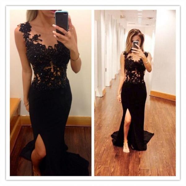 Black Prom Dresses,Sexy Mermaid Slit Prom Dress, Beading Prom Dress With Lace,Fomal Evening Gowns 2017
