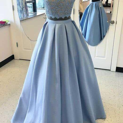 Two Piece Prom Dresses Real Photos 2017 Sheer Formal Women Evening Gowns