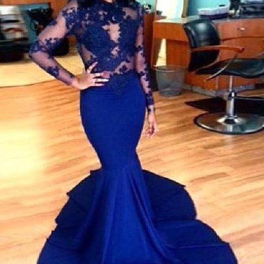 Royal Blue African Prom Dresses Mermaid Special Occasion Sheer Party Dress Formal Dress For Women
