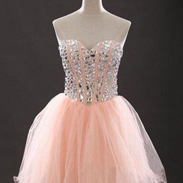 Coral Homecoming Dresses 2017 Crystal Beaded Short Prom Dress Mini Party Dress