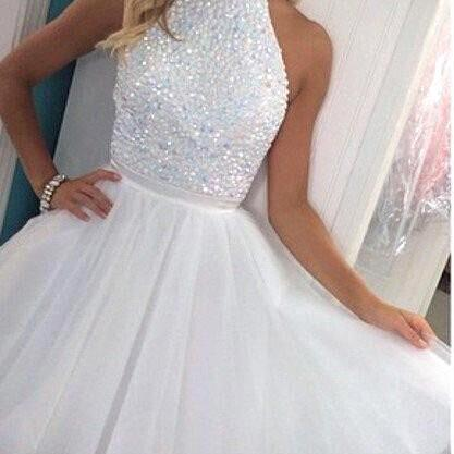 White Homecoming Dresses Beaded Tulle Short Prom Dress 2017 Mini Girls Graduation Party Dress