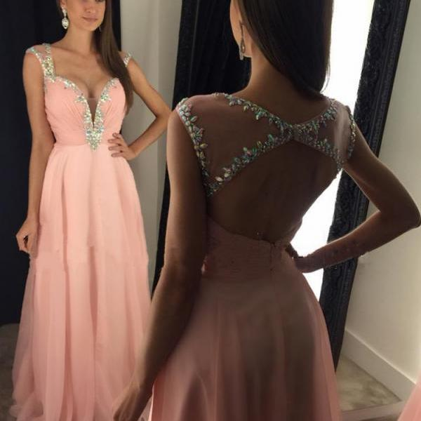 Blush Pink Backless Prom Dresses Cheap 2017 Long Imported Party Dress Cap Sleeve Formal Evening Gowns Robe De Bal