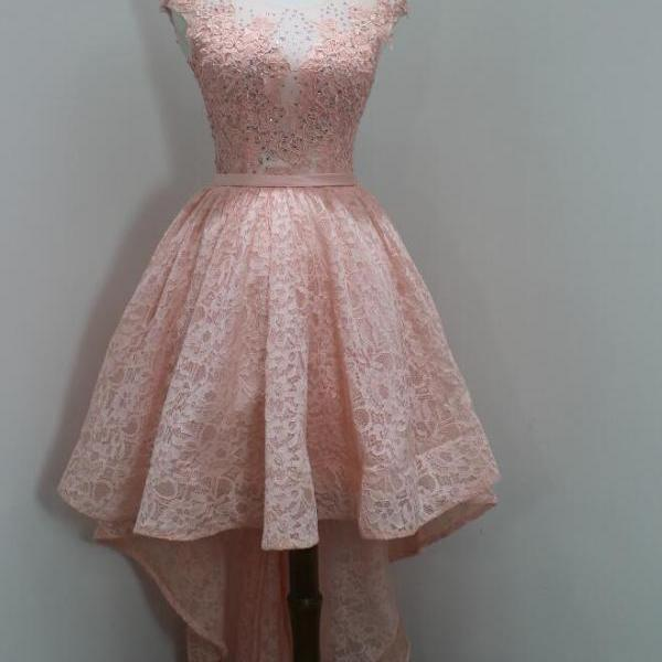 High Low Lace Homecoming Dresses Pink Prom Dress Robe De Bal Sheer Special Occasion Party Dress