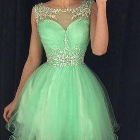 Mint Green Homecoming Dresses 2017 Cap Sleeve Short Prom Dress Sheer Special Occasion Party Gowns