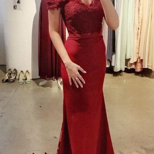 Burgundy Off The Shoulder Prom Dresses Mermaid Formal Women Evening Dress Long Party Gowns