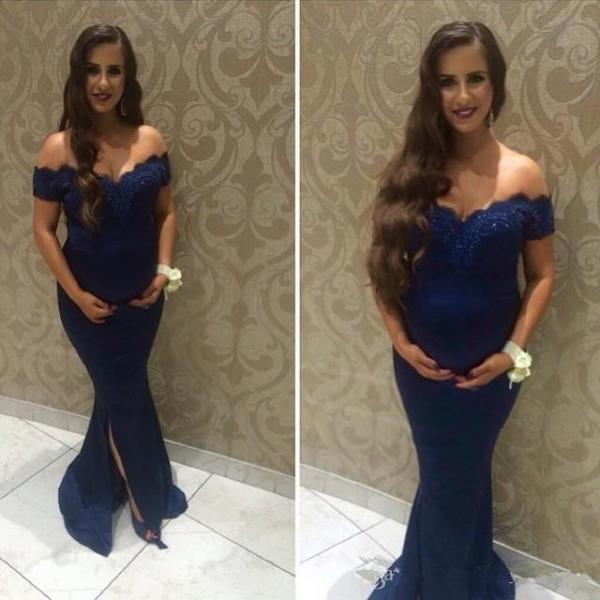 Navy Evening Gowns Dresses 2018 Mermaid Off The Shoulder Prom Dresses Sexy Party Dress Robe De Soiree