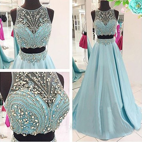 Light Sky Blue 2 Piece Prom Dresses Real Photos 2018 Formal Women Evening Dress Long Party Gowns