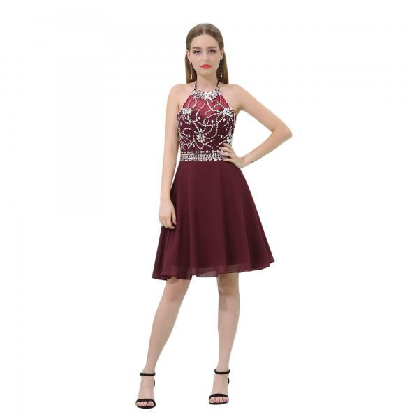 Burgundy Short Prom Dress,..
