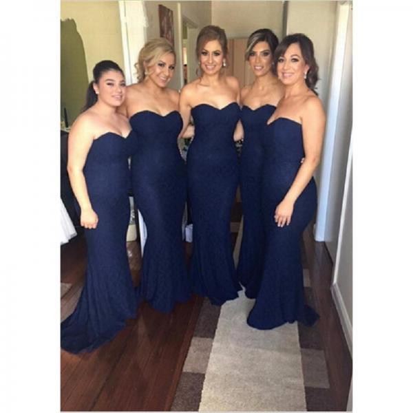 Navy Bridesmaid Dresses,Mermaid Bridesmaids Dresses,Sweetheart Maid Of Honor Gowns