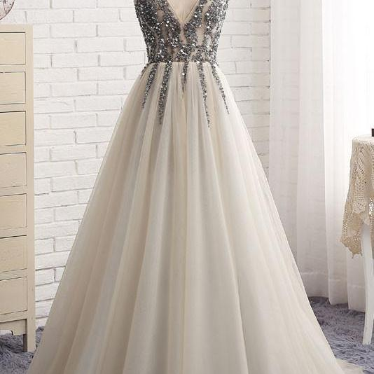 Silver Beaded Prom Dresses Long 2018 Deep V Neck Evening Gowns Formal Dress