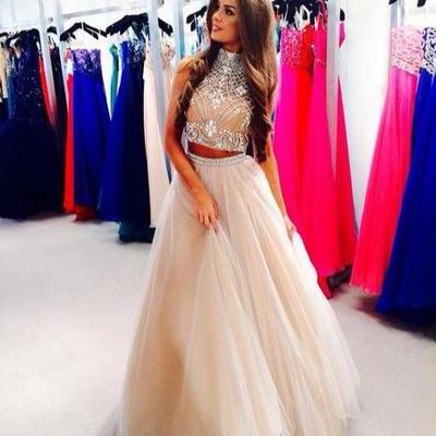 Champagne Prom Dresses,Two Piece Prom Dress,Beading Evening Dress,A Line Formal Dress