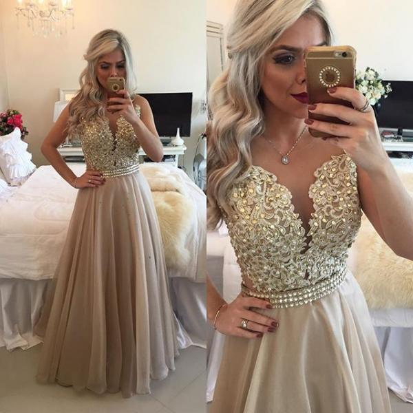 Beading Prom Dresses,Prom Dress 2018,A Line Evening Gowns,Sheer Formal Dress,Women Party Dress