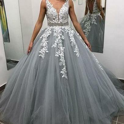 Grey Ball Gown Prom Dresses,V Neck Prom Dress,Evening Gowns,Formal Dress,Imported Party Dres,Prom Dress 2019
