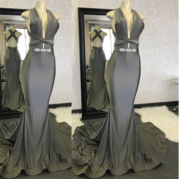 Grey Mermaid Prom Dresses,Prom Dress 2019,Deep V Neck Formal Dress,Evening Gowns,Banquet Dress,Party Dress