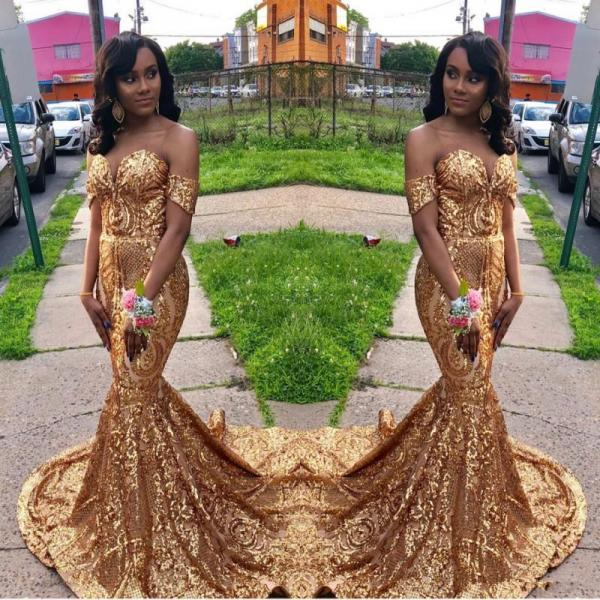 Gold Sequin Prom Dress,Mermaid Prom Dresses,Prom Dress 2019,Evening Gowns,Formal Dress,Pageant Dress
