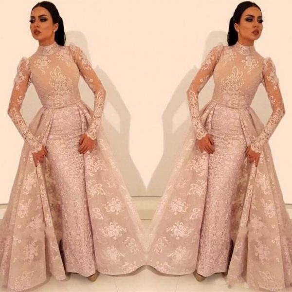 Arabic Prom Dresses,Mermaid Prom Dress,Evening Gowns,Formal Dress,Long Sleeve Prom Dress,Party Dress