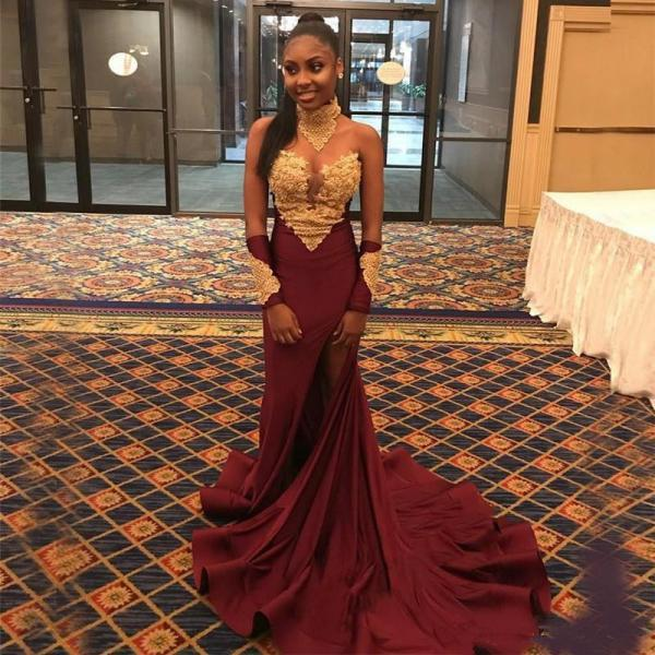 Burgundy Mermaid Prom Dress,Evening Gowns,Formal Dres,Long Sleeve Prom Dress,Ever Pretty,Black Girl Prom Dresses 2019