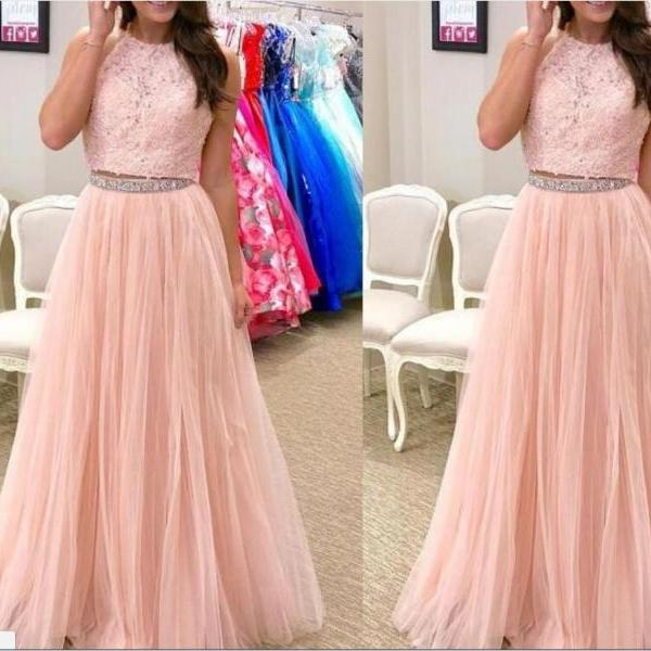 Two Piece Prom Dress,Blush Pink Prom Dress,Lace Evening Gowns,Formal Dress,Party Dress,Robe De Soiree