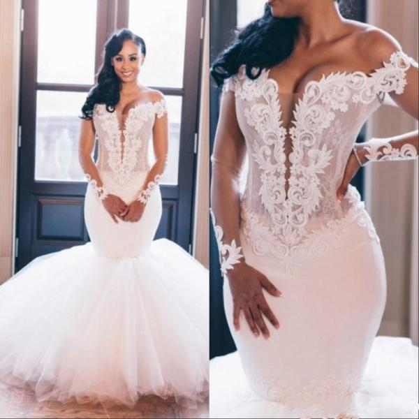 Vintage African Mermaid Wedding Dresses 2020 Long Sleeve Wedding Gowns Custom Made V Neck Bridal Dress