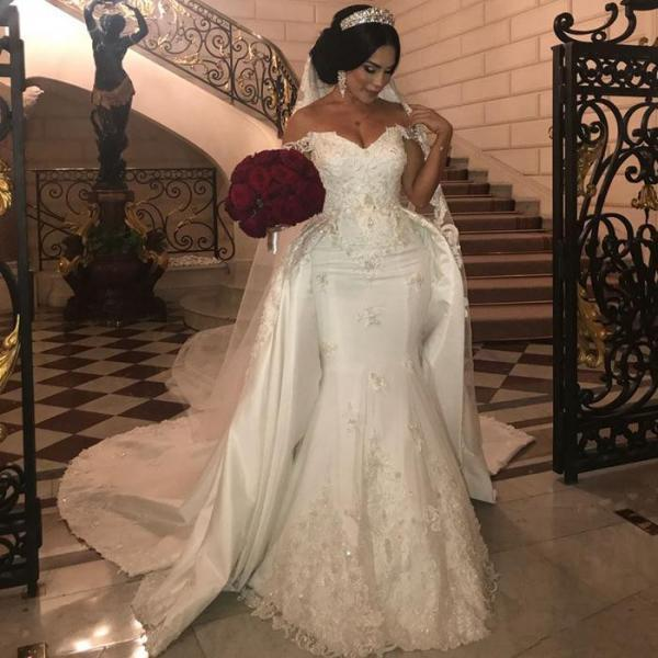 Off The Shoulder Wedding Dress,Mermaid Wedding Dress 2020,Sweep Train Bridal Dress