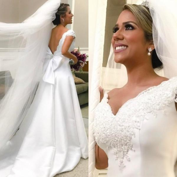 Elegant Off The Shoulder Wedding Dresses,Satin Wedding Dress,Wedding Gowns 2020,Handmade A Line Bridal Dress