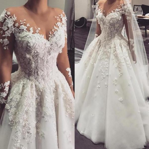 Modest Long Sleeve Wedding Dresses,A Line Wedding Dress,3D Flowers Wedding Gowns,Sheer Bridal Dress