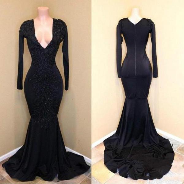 Black Mermaid Prom Dresses,Long Sleeve Prom Dress 2020,V Neck Prom Dress,Evening Gowns,Formal Party Dress
