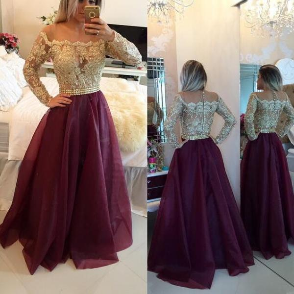 New A-Line Prom Dress, Long Sleeve Prom Dress, New Arrival Prom Dress, Lace Prom Dress, Floor Length Evening Gowns, Formal Women Dress