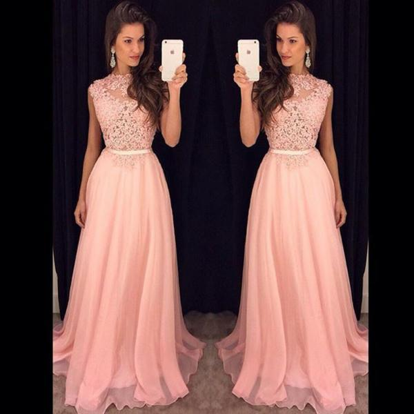 Long Lace Prom Dress,Long Chiffon Prom Dress,Long A-line Prom Dress,2016 New Formal Women Evening Gowns