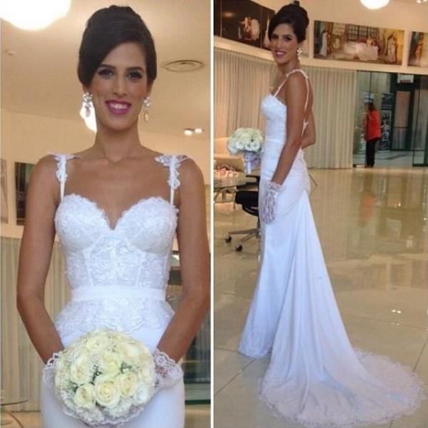 854de75d89 Spaghetti Straps Lace Appliqués Mermaid Wedding Dress With Court Train on  Luulla