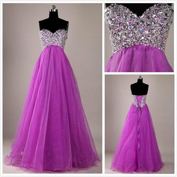 Beautiful Handmade Sweetheart Beaded/beading Floor Length Tulle Prom Dresses,Formal Evening Gown