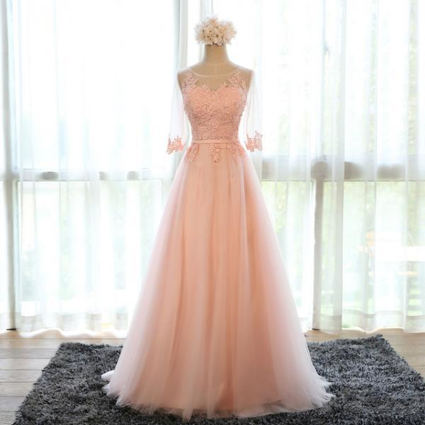 Pretty A-line tulle Long formal dresses with Lace,party dresses ,formal Evening Dresses