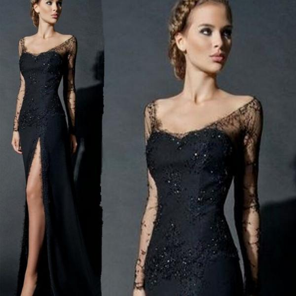 Sexy Black Lace Beading Chiffon Slit Long Prom Dress,Handmade Beading Mermaid Evening Gown 2017
