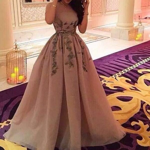Elegant Strapless Applique beading A-line long Prom Dress ,Formal Evening/Party Dress