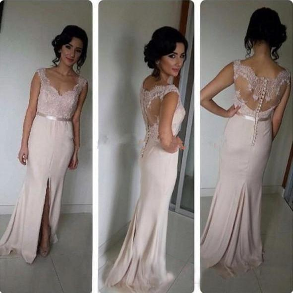 High Quality Slit Long Prom Dress Custom Made Cap Sleeve A-Line Formal Women Evening Gowns 2017